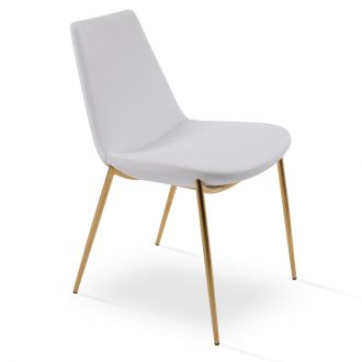 White PPM Leatherette on Gold Finish