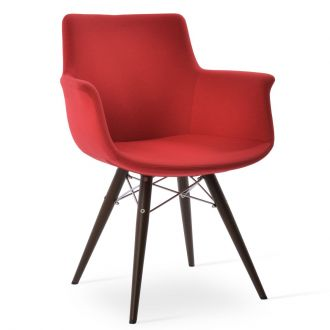 Red Fabric (Camira - Era - CSE06) on Walnut Veneer Steel