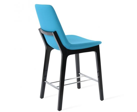 Turquoise Camira Fabric on Black Lacquer Wood (Chrome Finish Footrest)