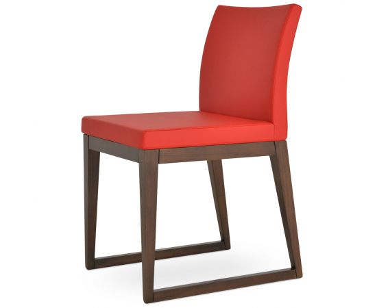 Red PPM Leatherette on Walnut Finish
