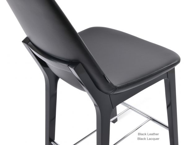 Black Leather on Black Lacquer Wood (Chrome Finish Footrest)