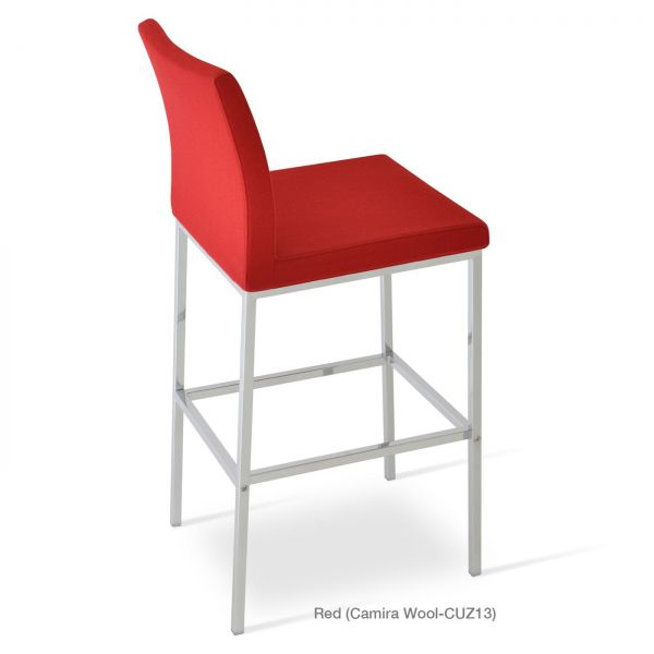 Red Camira Wool on Chrome Plated Steel